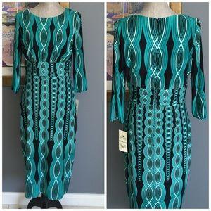 Sangria Dresses & Skirts - Sangria Silky Print Dress (6 10)