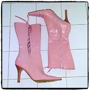 BP PINK LEATHER LACE UP BOOTS
