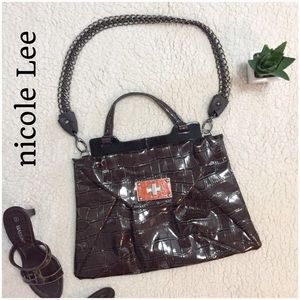 Nicole Lee Handbags - Nicole Lee Croc Print Large Envelope Bag - EUC