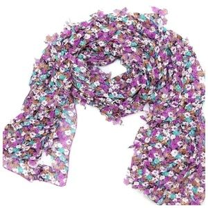 Custom Accessories - B92 Purple Green White 3D Cut Out Butterfly Scarf