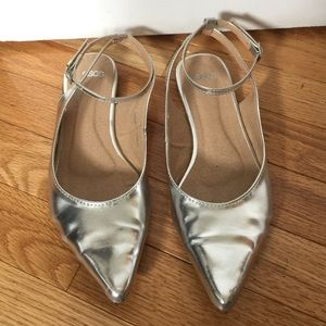 ASOS Shoes - ASOS silver metallic flats US size 7/UK size 5