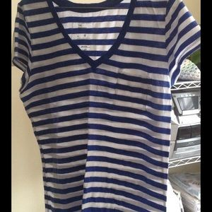 GAP Tops - GAP: The Essential Blue Striped V-Neck Tee
