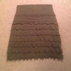 Frilly olive green skirt