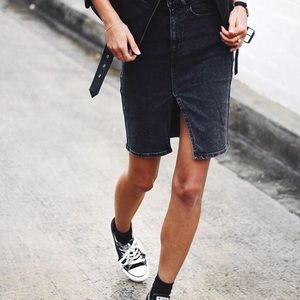 Black denim skirt levis | Global trend skirt blog