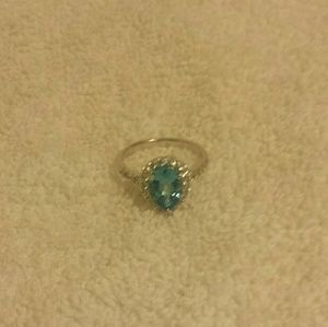 Swiss Blue Topaz & White Sapphire Ring Size 7