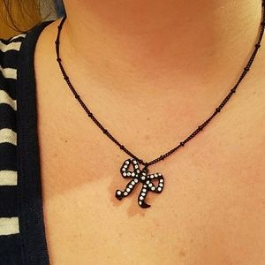 Betsey Johnson Jewelry - Betsey Johnson Black Bow Necklace rhinestones