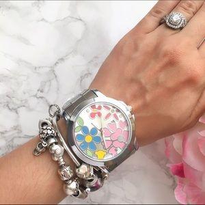 Silver Floral Watch