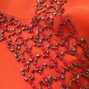 INC International Concepts Tops - Orange shoulder cut-out top