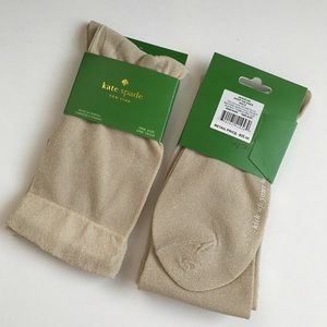 Kate Spade Gold Over The Knee Socks - One Pair