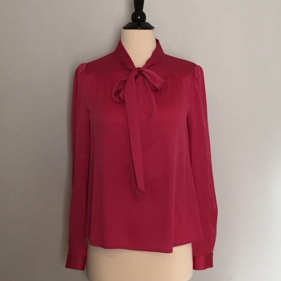 966a1c3761a323 Diane von Furstenberg Tops - DIANE VON FURSTENBERG Pink Silk Pussy Bow  Blouse