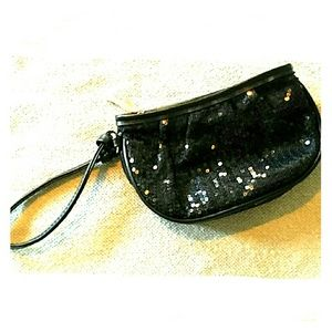 Sephora Handbags - NWOT Sephora black wrislet clutch purse sequins