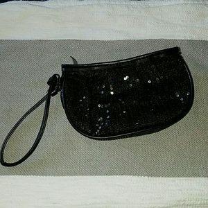Sephora Bags - NWOT Sephora black wrislet clutch purse sequins