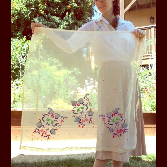 Vintage Other - Hand Beaded Vintage Sheer Sarong India Spinoso