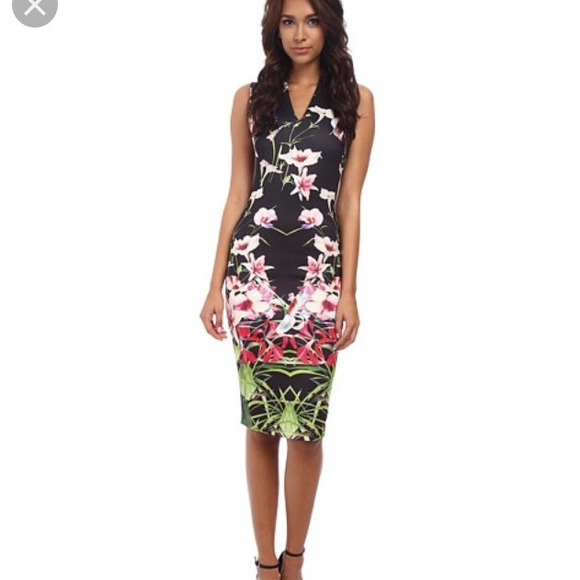 d66de7431402 Ted Baker Jalita Mirrored Tropics Midi Dress. M 574cd363bcd4a713c2072dc4