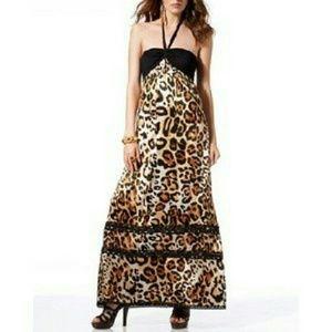bebe leopard maxi dress