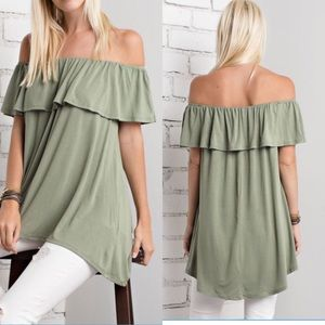 Off shoulder Tunic -Olive sale ✅