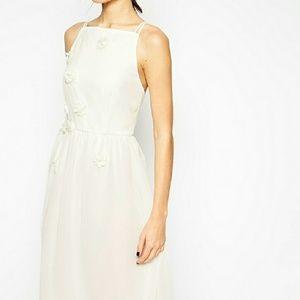 White halter neck midi dress