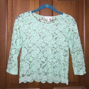 Mint green lace crop top with 3/4 length sleeves