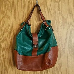 Big Buddha Teal Tan Expandable Shoulder Bag