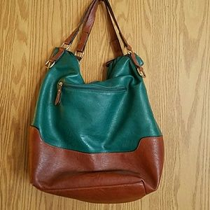 Big Buddha Bags - Big Buddha Teal Tan Expandable Shoulder Bag