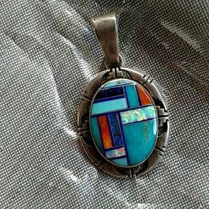 Exquisite Native American inlay pendant