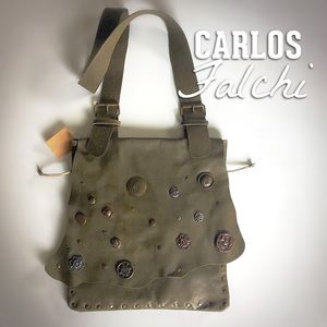 Carlos Falchi Fine Leather Crossbody-Messenger Bag