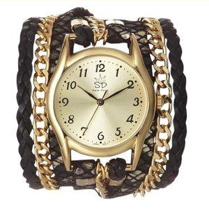 Sara Accessories - W07L-P Black Print Italian Leather Wrap Watch
