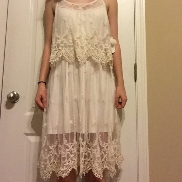 Altar D State Wedding: Cream Lace Boho Chic Dress From