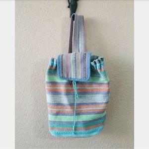 Striped bucket backpack