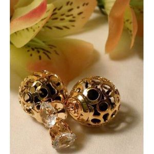 GOLD & BLACK CRYSTAL DOUBLE SIDED EARRINGS