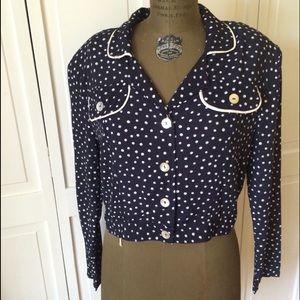 Vintage Tops - Vintage 1980's Navy Polka Dot Button Up Blouse