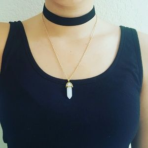 White jade gold chain necklace