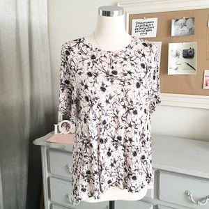 H&M // Floral Pink & Black Swing Blouse