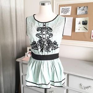 Seafoam Green Peplum Sleeveless Blouse