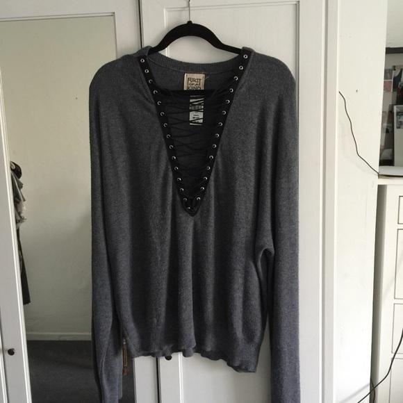19bccf5c8f LF Vintage Furst of a Kind Lace Up Sweater Grey