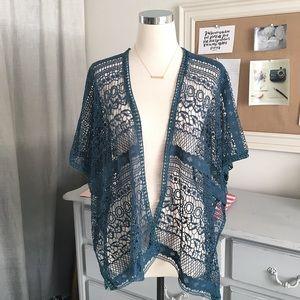 Ginger Sweaters - Teal Crochet Kimono Top