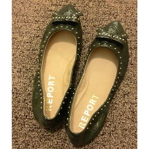 REPORT Patent Leather Studded Pointy Flats, sz 5/6
