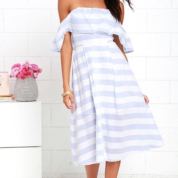 7e39e3aaa9af Lulu s Dresses   Skirts - Lulus blue white striped off shoulder midi dress