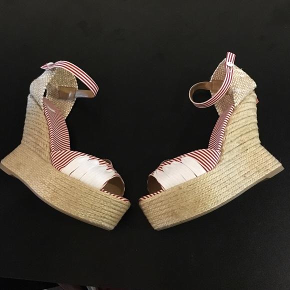 fb856a46fcc5 Castaner Shoes | Raffia Striped Red White Wedges 40 New | Poshmark