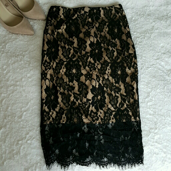 9d98401e4 Black Lace Midi Skirt with nude/creme underlay. M_574ee4ce680278fdec015e81