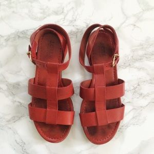 J. Crew Shoes - Jcrew red leather gladiator ankle buckle sandal
