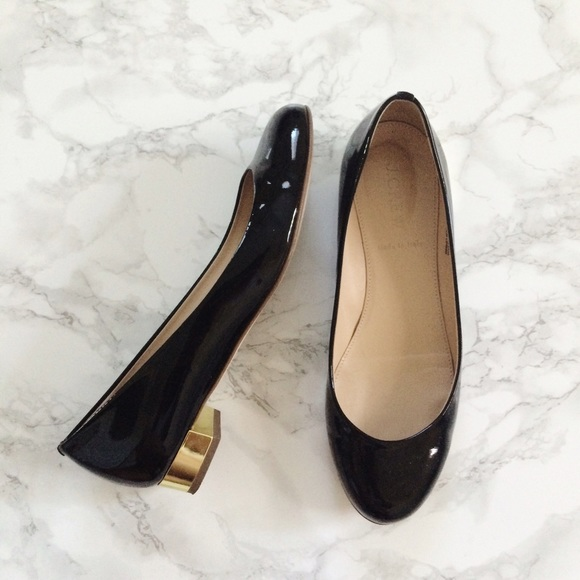 44% off J. Crew Shoes - JCrew black patent leather gold heel Janey ...