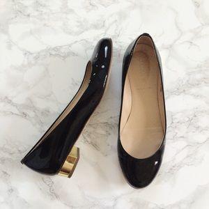 J. Crew Shoes - JCrew black patent leather gold heel Janey flats