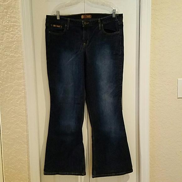 L.E.I for Torrid - Dark denim flare Jeans low rise plus Size 18 ...