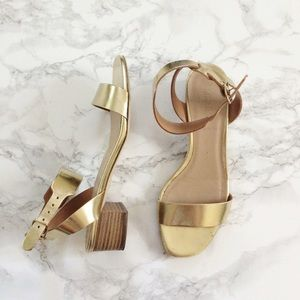 J. Crew Shoes - Jcrew gold metallic leather ankle strap sandal