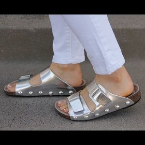 Sam and Libby silver Birk like sandals