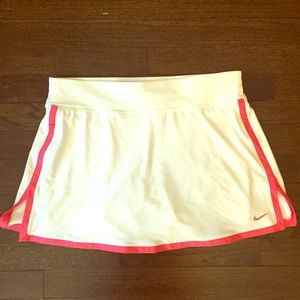Nike Dri-Fit White with Pink Piping Tennis Skirt