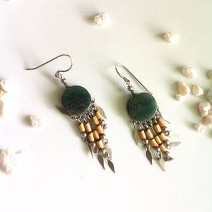 Gypsy fringe earrings natural stone boho love