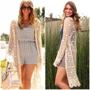 Brandy Melville tacie lace crochet cardigan-summer