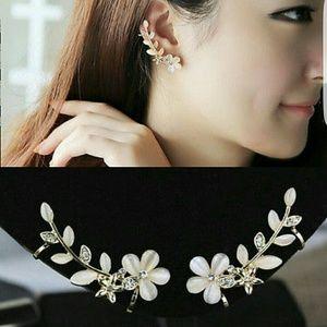 Jewelry - New gorgeous flower crystal cuff earrings